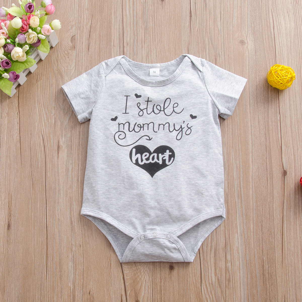 Baby Boy / Girl Letter Print Short-sleeve Romper