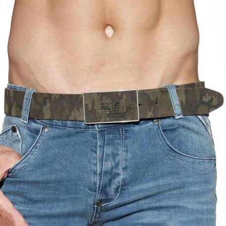 ES Collection Camo Leather Belt - Khaki 95