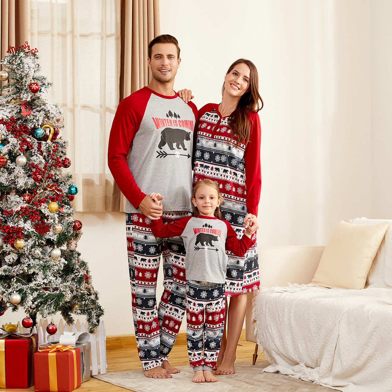 Mosaic Winter is Coming Family Matching Bear Top and Snowflake Pants Christmas Pajamas Set for Dad - Mom - Kid - Baby