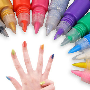 12 Colors 3D Nail Art Paint Drawing Pen Acrylic Nails Art Polish Carved Pens Kit Set