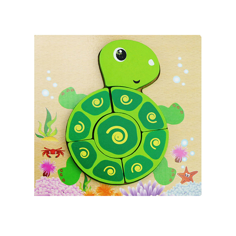 3D Wooden Puzzle Jigsaw Toys For Children Wood 3d Cartoon Animal Puzzles Intelligence Kids Early Educational Toys
