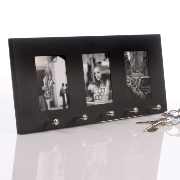 Personalised Key Holder and Triple Photo Frame Black