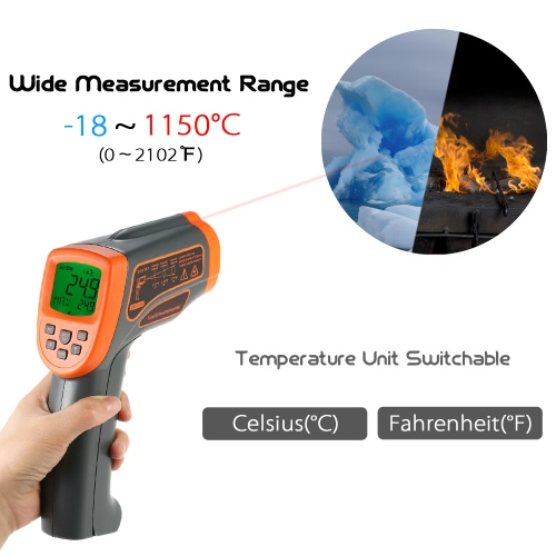 SMART SENSOR -18~1350? 20:1 Multifunctional USB Non-contact IR Infrared Thermometer Portable Handheld Digital Temperature Tester Pyrometer LCD Display with Backlight Centigrade Fahrenheit Adjustable Emissivity Data Storage