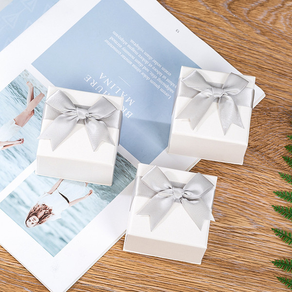 manufacturers 1pcs 7*7*4.5cm jewelry packaging box high-end ring box with ribbon bow gift boxes for jewellery