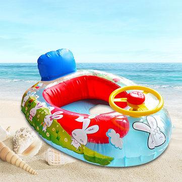 Wheel Horn Kids Swim Ring Seat Float Baby Boat Inflatable Swimming Trainer Pool