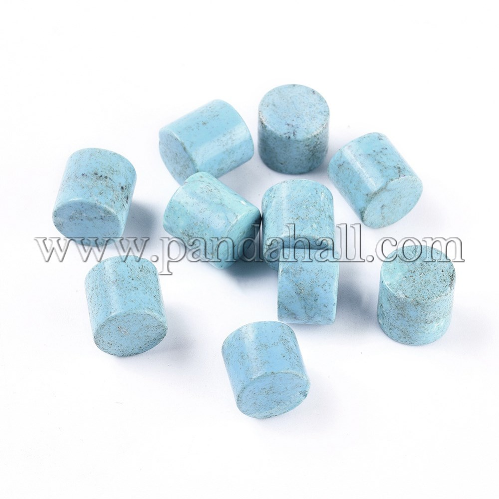 Natural Turquoise Baeds, Dyed, No Hole/Undrilled, Column, 10x10mm