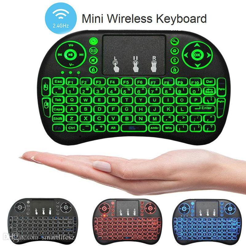 New Fly Air Mouse 2.4G Mini RII I8 Wireless Keyboard With Backlight Red Green Blue Remote Controlers For MXQ S905X S912 TV