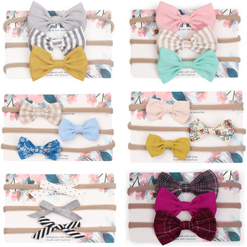 3pcs/lot Cute Bow Baby Headband for Girl Nylon Head Bands Turban Newborn Headbands Hairbands for Kids Baby Hair Accessories