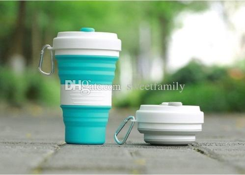 50pcs 5 Colors Collapsible Silicone Coffee Cups Outdoor Travel Portable Folding Water Cups 550ml Free Shipping