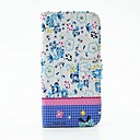 Blue Flowers Pattern PU Leather Full Body Case with Stand and Diamond for Samsung S5 Mini