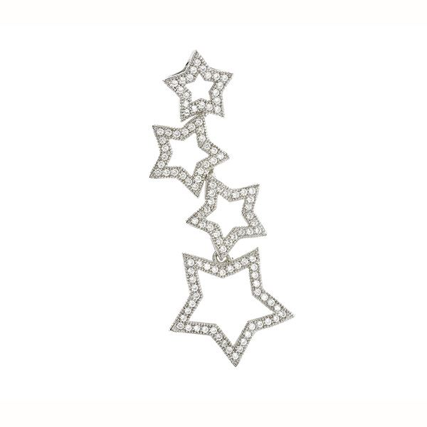 Stars Sterling Silver Pendant with CZ Stones