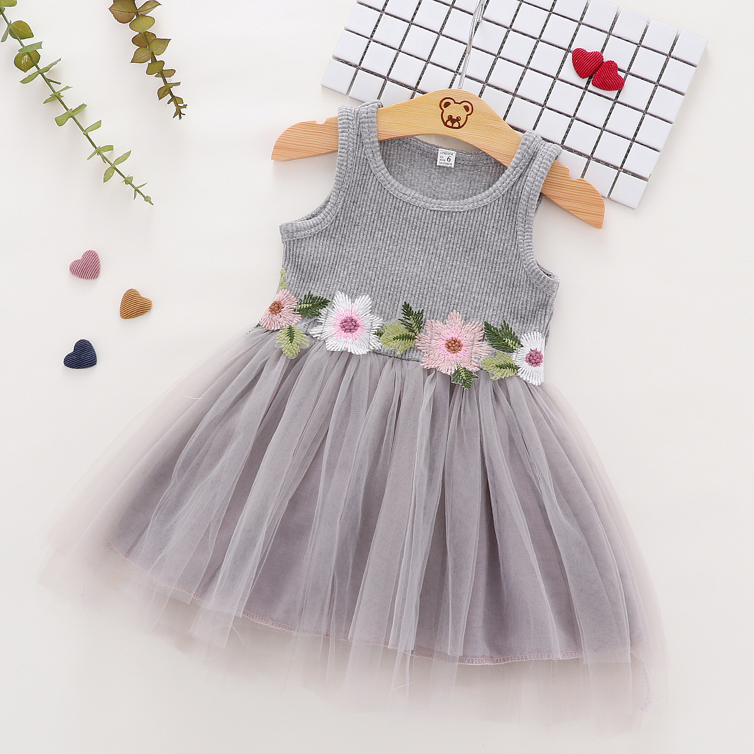 Baby/ Toddler Girl's Flower Embroidered Knitted Tulle Dress