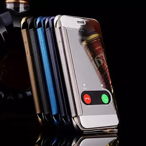 For iphone XR XS 8 Luxury Clear View Mirror Screen Case Chrome Electroplate Flip Wallet Open Window Take Calls Cover for iphone 7 plus 6S