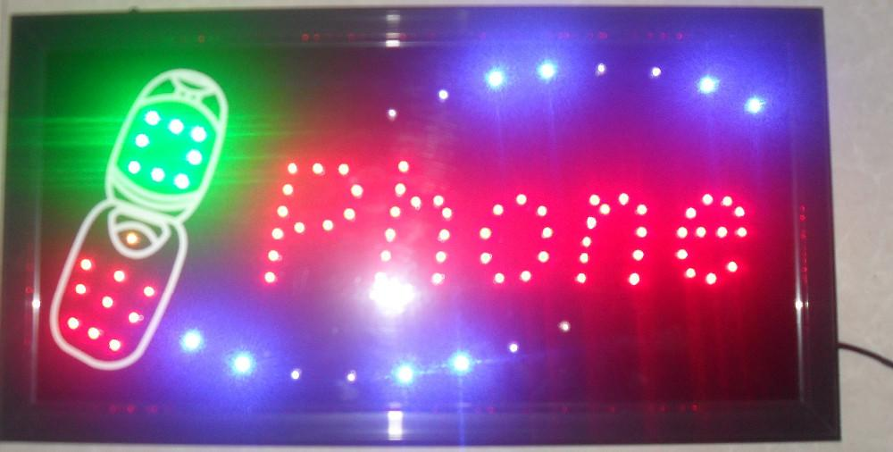 2016 New arrival 10X19 Inch Graphics Animated motion Running phone shop Led neon open sign Wholesale