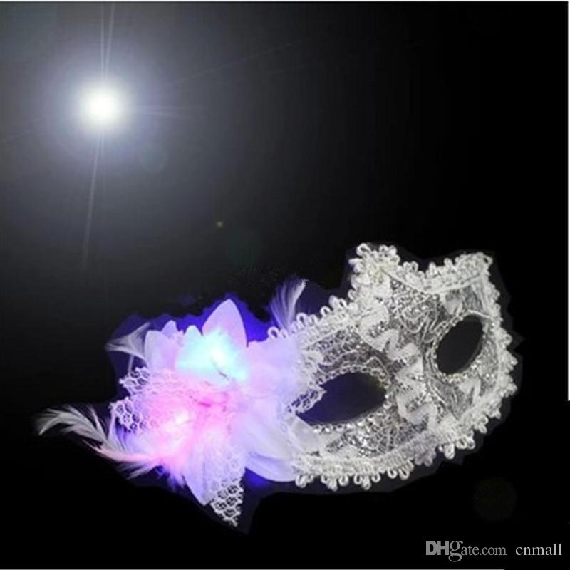 Colorful Party Mask Princess Luminous Mask Half Face Masks Halloween Masquerade Female LED Lace Mask Adult Children's Cosplay LED Masks