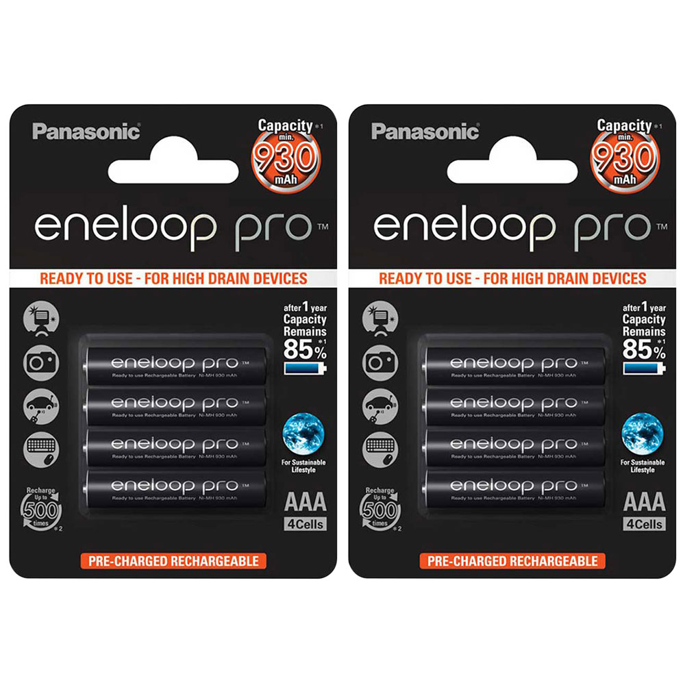 Panasonic Eneloop PRO AAA HR03 Ready to Use Rechargeable NiMh Batteries 930mAh - Extra Value 8 Pack