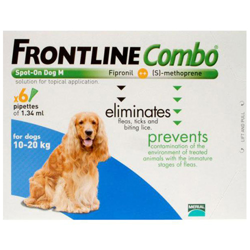 Frontline Plus (Combo) For Medium Dogs 23-44 Lbs (Blue) 3 Pipette