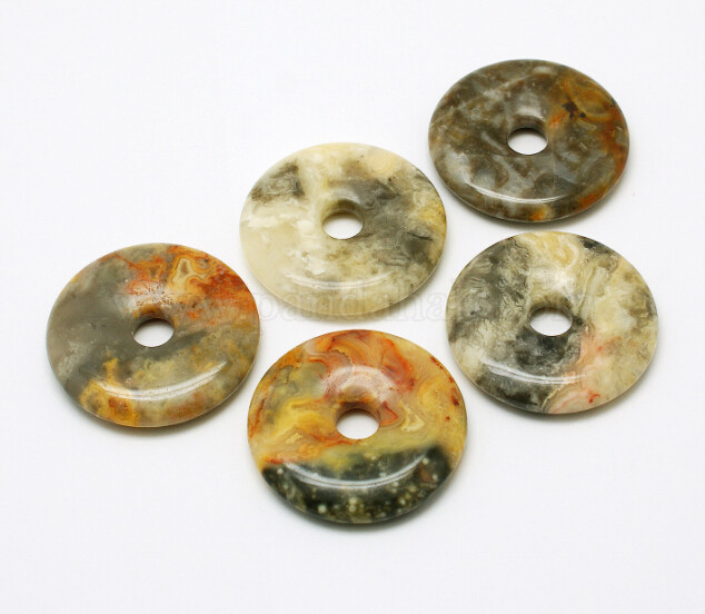 Donut/Pi Disc Natural Gemstone Pendants, Crazy Agate, 30x5mm, Hole: 6mm