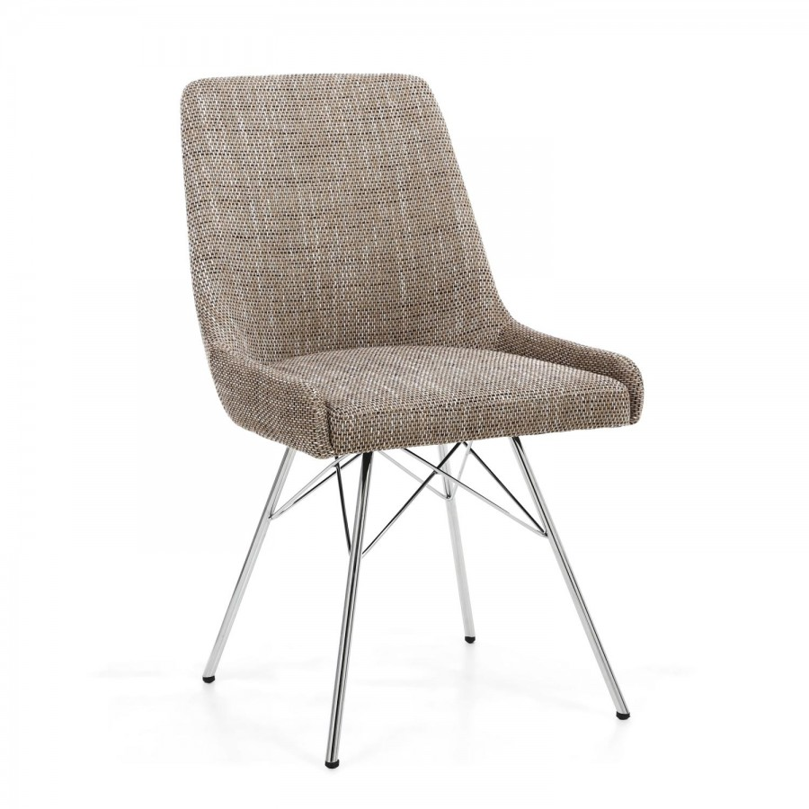 Capri Tweed Dining Chair Pair- Oatmeal with Chrome Legs