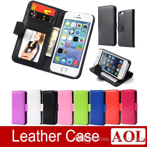 Wallet Style Flip PU Leather Case with Photo & Card Holder For Apple iphone 6 / 6 Plus 5s 4s Smart Stand Bags Cover