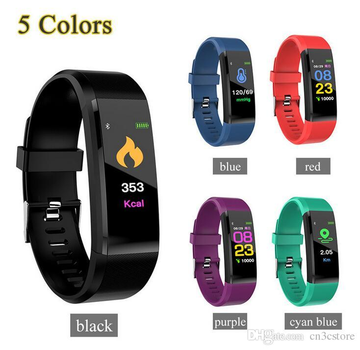 ID115 Plus Smart Band Bracelet Color LCD Screen Fitness Tracker Pedometer Heart Rate Blood Pressure Monitor Bands Wristband DHL Free