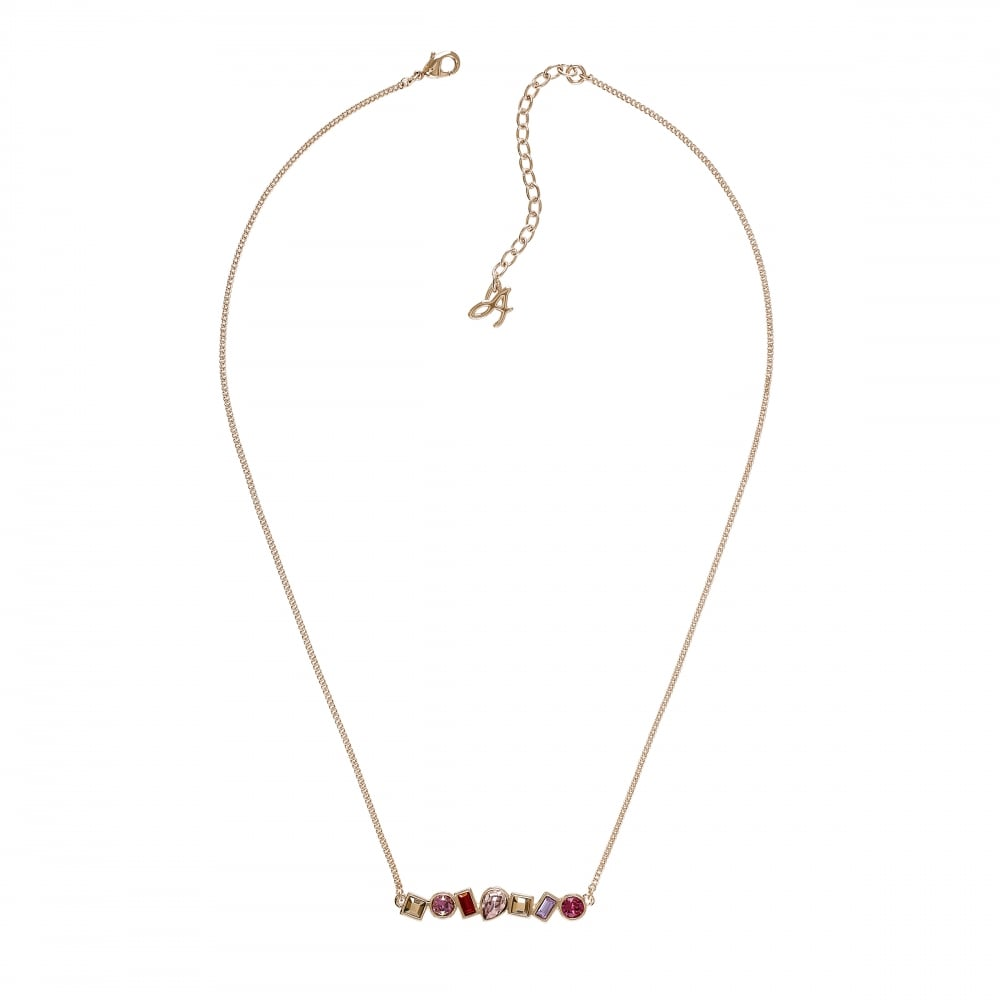 Gold Multi Shape Pink/ Red Necklace Created With Swarovski Crystals