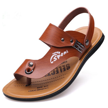 Men Hollow Breathable Leather Sandals