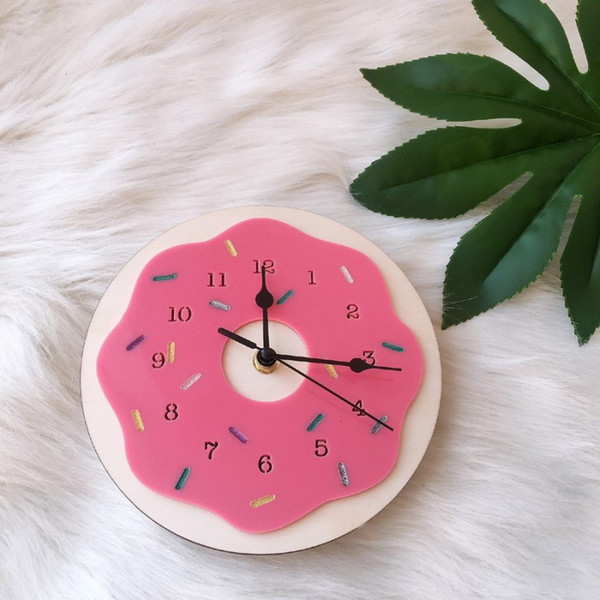 ins nordic donut shaped wall clock cartoon silent mute clocks kids room decoration ornament figurines p props nursery decor