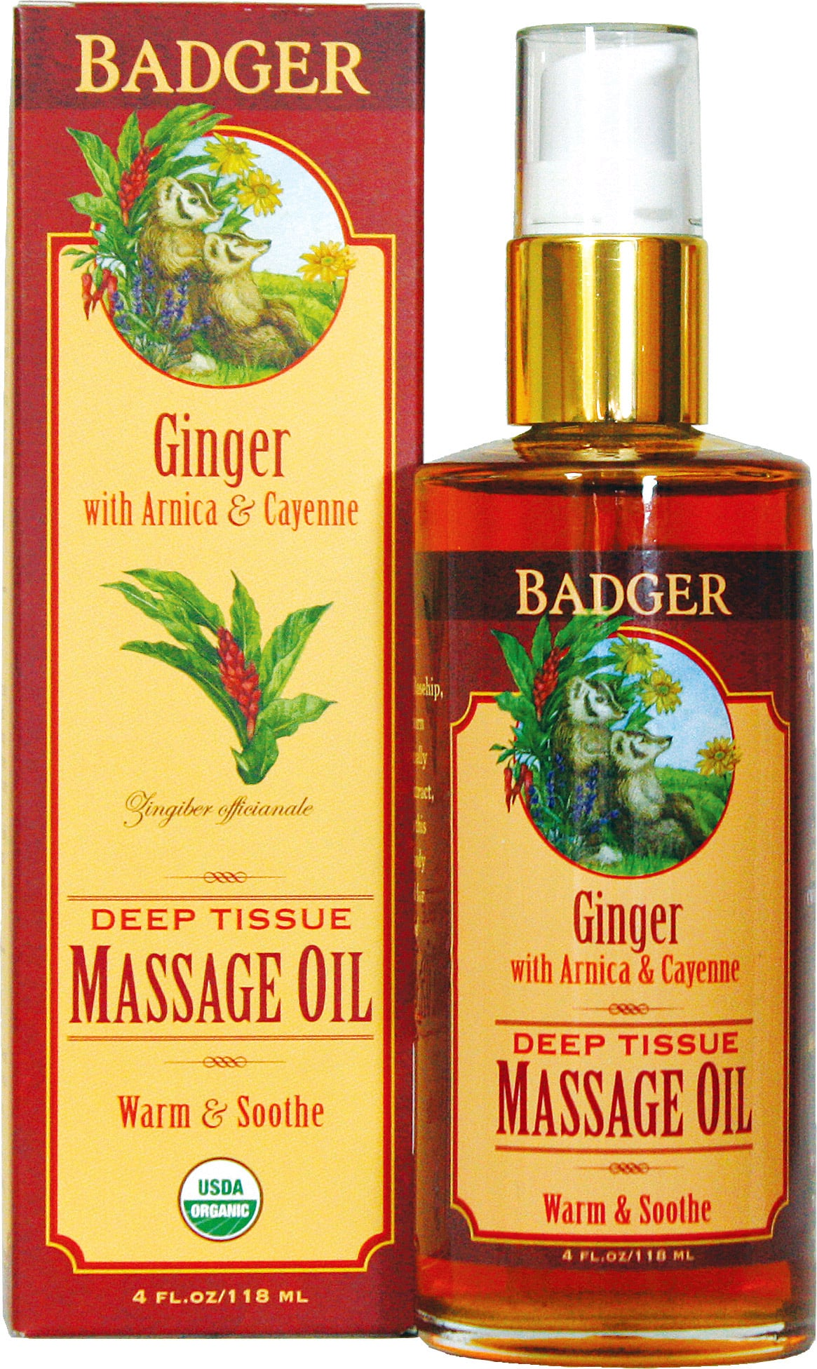Badger Balm Ginger Deep Tissue Massage Oil