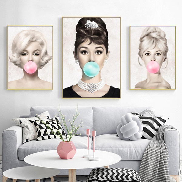 wall art poster audrey hepburn marilyn monroe blow pink bubbles wall art picture for living room home decor (no frame)
