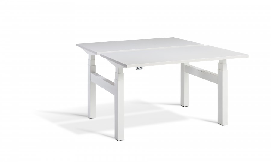 Lavoro Duo Height Adjustable Grey Desk - White Frame - 1800 x 800mm