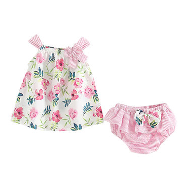 Baby Girls Summer Dresses with Bottom Set