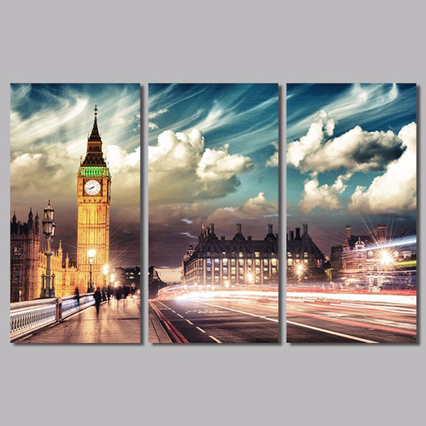 big size modern city london big ben 3pcs/set decoration wall art pictures landscape canvas painting for living room unframed