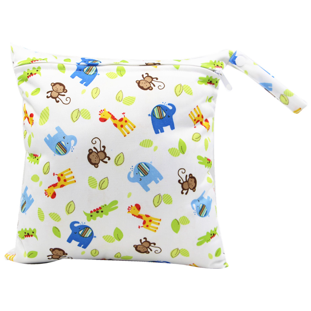 Animal Print Waterproof Hanging Cloth Diaper Wet/Dry Bags