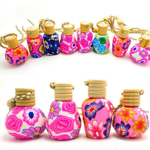 New Arrive Car hang decoration Ceramic essence oil Perfume bottle Hang rope empty bottle free shipping