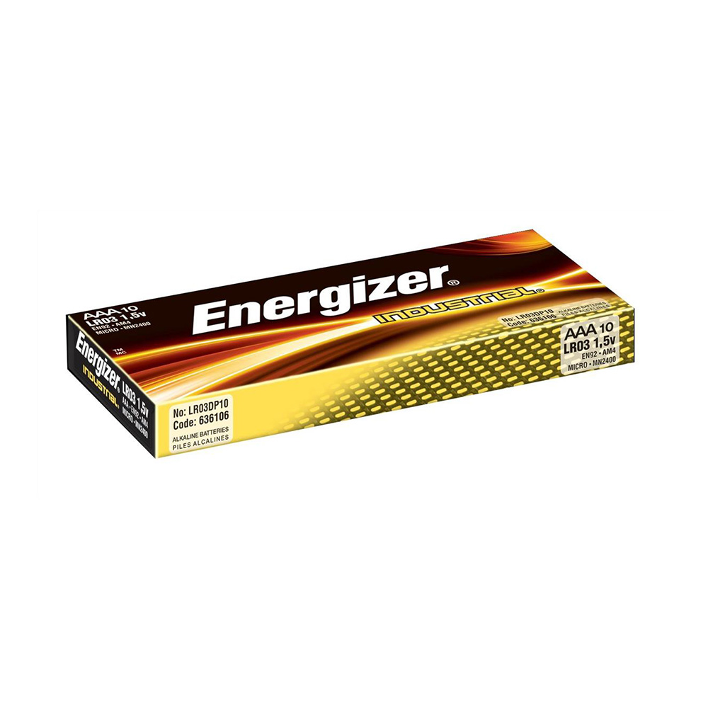 Energizer Industrial Professional Alkaline Batteries AAA LR03 MN2400 - Value Box of 10