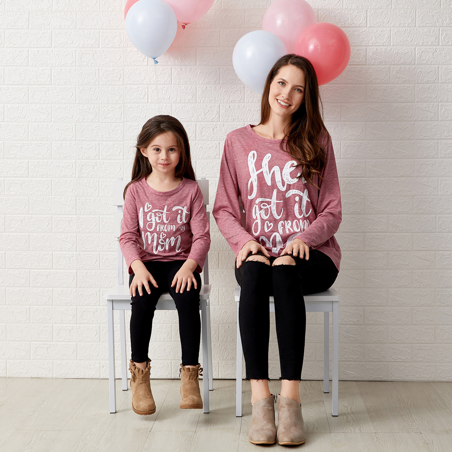 Mosaic Letter Print Long-sleeve Tops for Mommy and Me