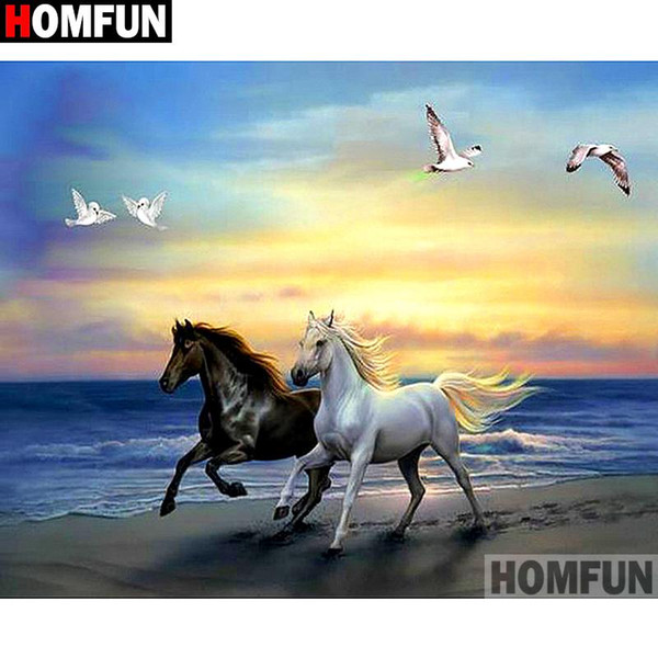 "HOMFUN 5D DIY Diamond Painting ""Animal horse seagull"" Full Drill Resin Diamond Embroidery Cross Stitch Home Decor A27486"