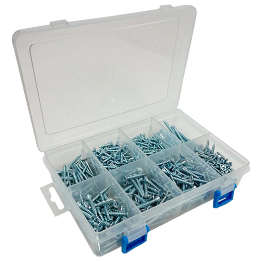 Assortment of BZP Pozi CSK Head Twin Thread Woodscrews in a 8 Compartment Carry Case. (780 Pieces)