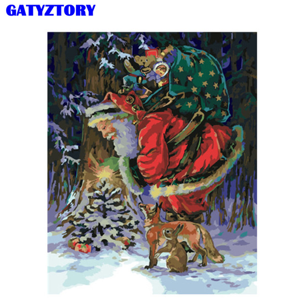 gatyztory frame christmas diy painting by numbers acrylic wall art picture paint by numbers modern for home decor unique gift