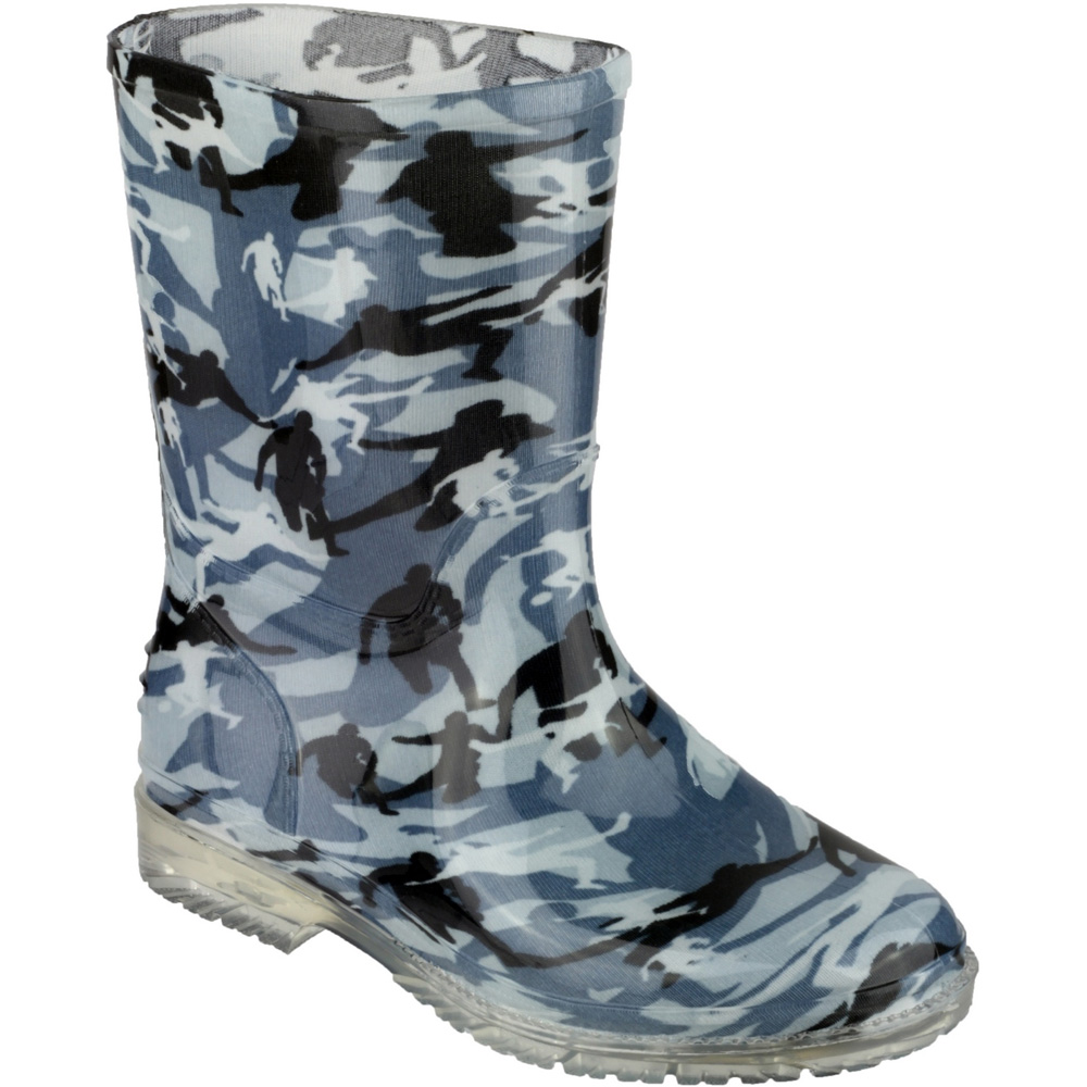 Cotswold Boys Patterned PVC Kids Childrens Welly Wellington Grey