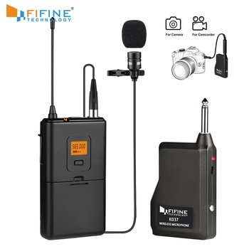 Fifine 20-Channel UHF Wireless Lavalier Lapel Microphone System with Bodypack Transmitter Lapel Mic  Receiver for camera/phones