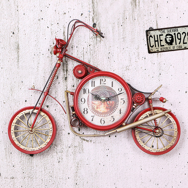 retro motorcycle model clock wall decoration clocks home bar restaurant accessories wall hanging ornaments wy112803