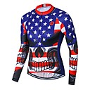 21Grams Skull American / USA National Flag Men's Long Sleeve Cycling Jersey - RedBlue Bike Jersey Top Breathable Moisture Wicking Quick Dry Sports Winter Fleece Polyester Elastane Mountain Bike MTB