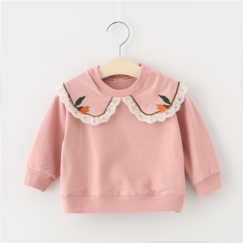 Baby / Toddler Lace Doll Collar Solid Pullover
