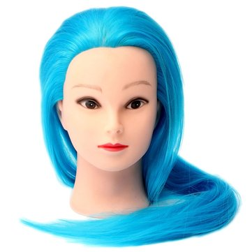27 Inch Professional Salon Blue Synthetic Long Hair Hairdressing Training Mannequin Head