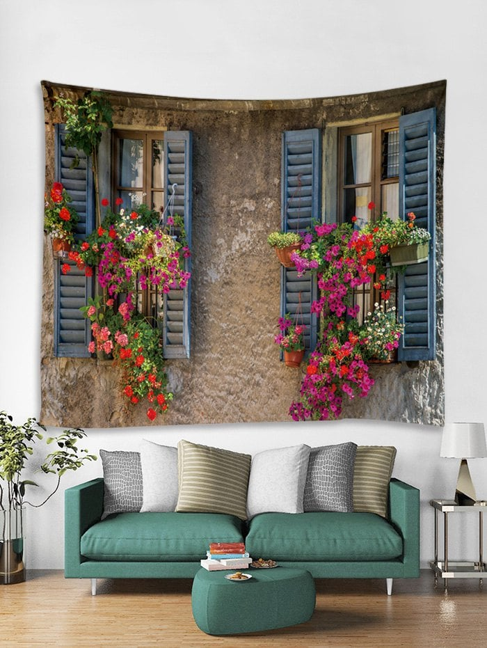 Flower Window Print Art Decoration Wall Tapestry
