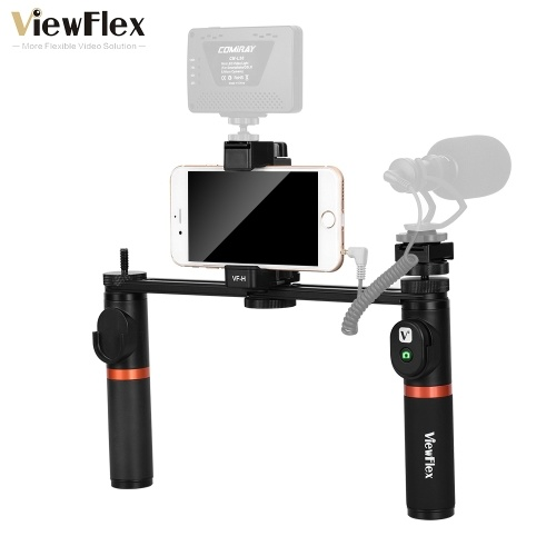 ViewFlex VF-H5 Smartphone Video Rig Dual Handheld Metal Grip Stabilizer Kit with Remote Control/ Hot Shoe Mount for iPhone X 8 7 6s Plus for Samsung Galaxy S8+ S8 Note 3 Huawei