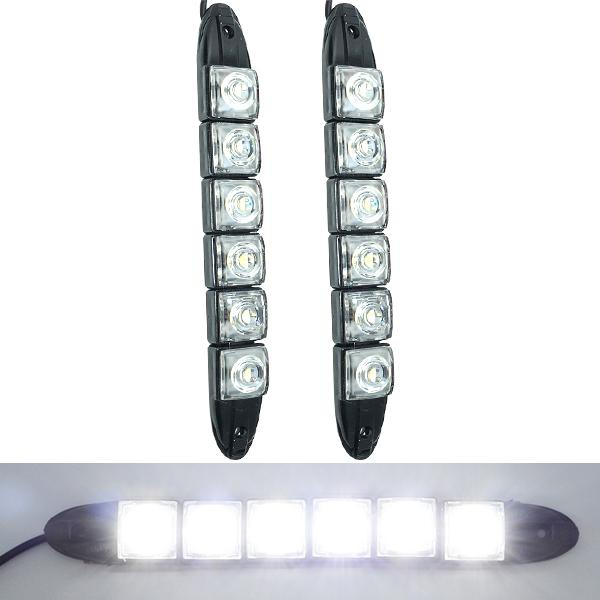 2X 6 LED Super Wei? Auto Auto Dekorative Flexible LED-Streifen-High Power 12V Auto-LED-Tagfahrlicht-Licht Auto LED-Streifen-Licht DRL