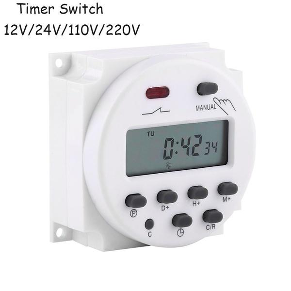 50pcs/lot cn101a lcd time switch 12v 24v 110v 220v time relay street lamp power supply timer without waterproof box